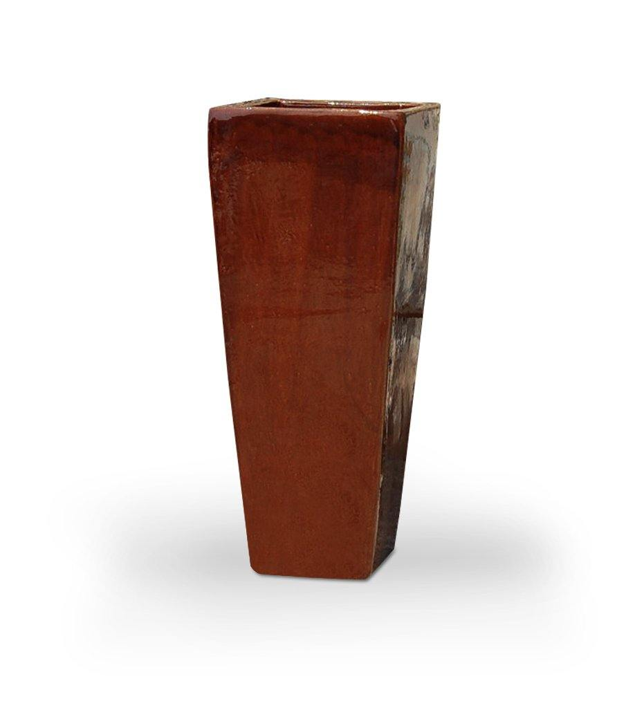 Asian Ceramics Dark Brown Extra Tall Square Planter