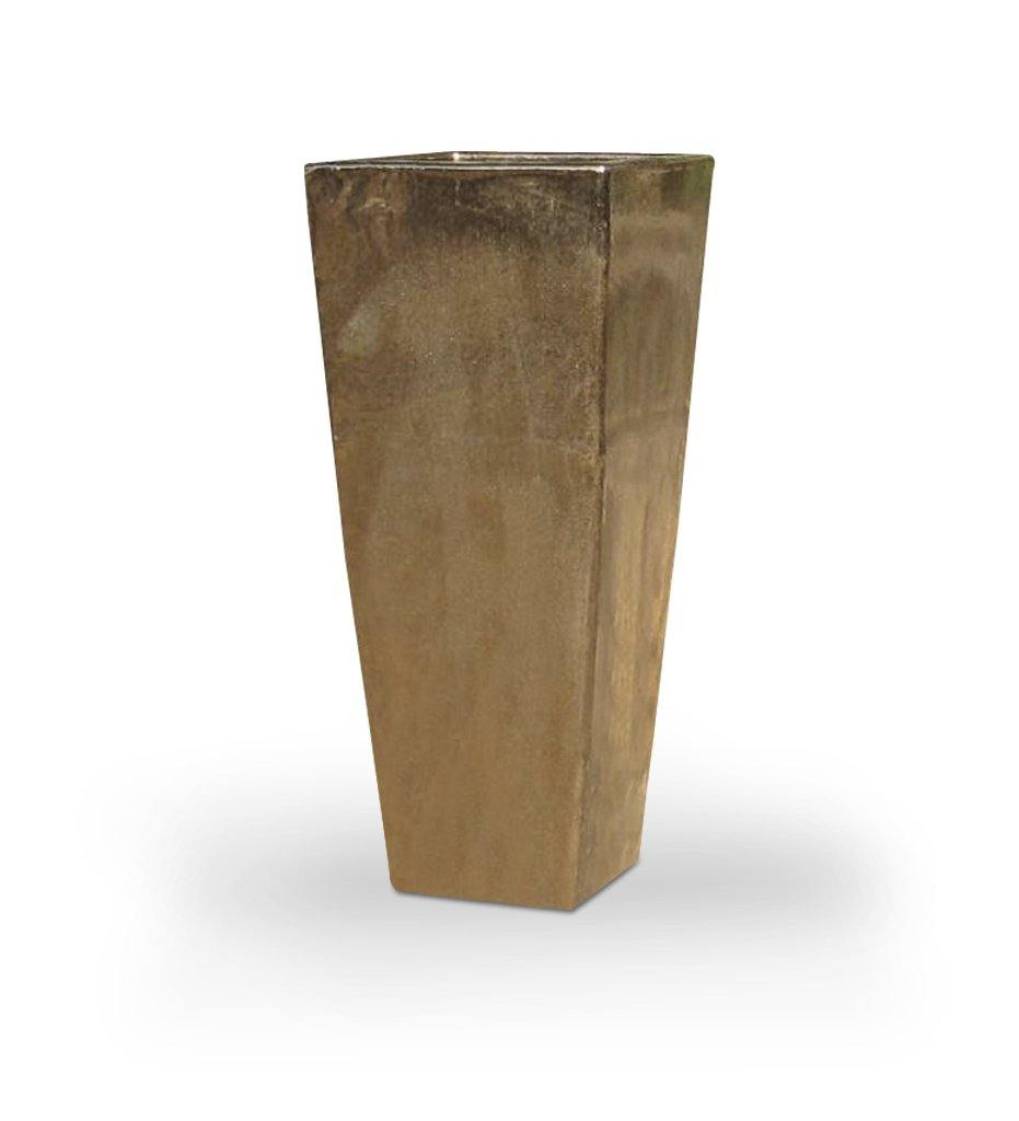 Asian Ceramics Metallic Gold Extra Tall Square Planter