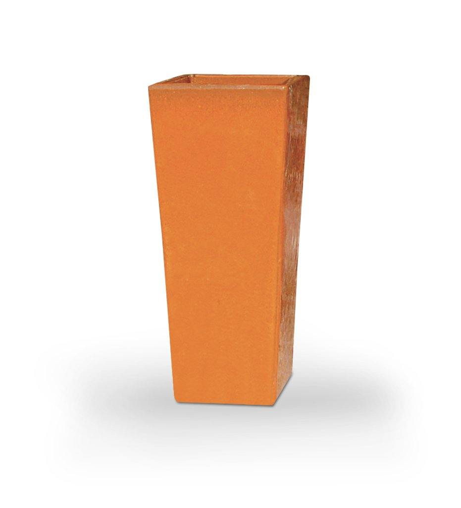 Asian Ceramics Orange Extra Tall Square Planter