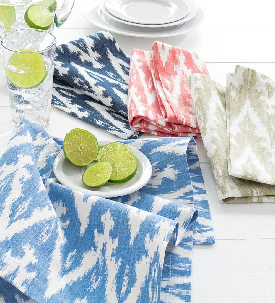 Fresh American- Ikat Woven Coral - Napkin Set of 4