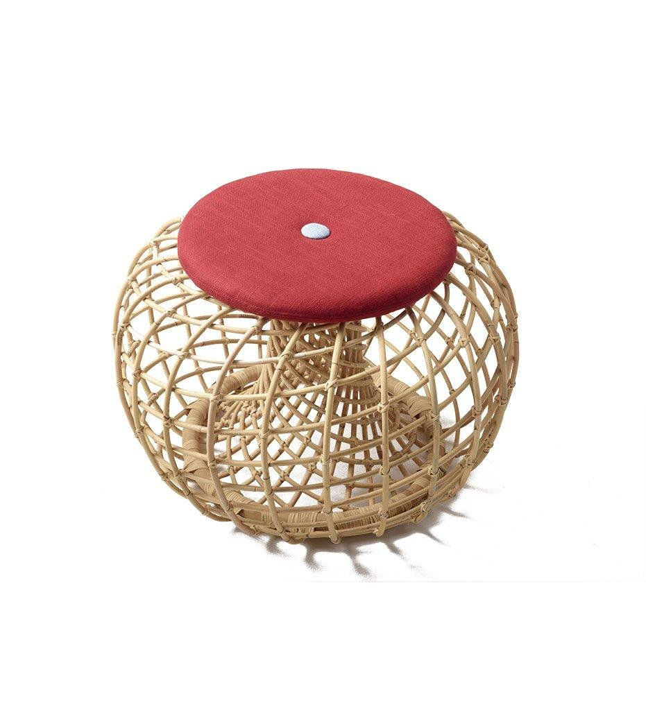 Cane-line Nest Small Footstool in Rattan with Grey Cushion 7320RU 7320Y03