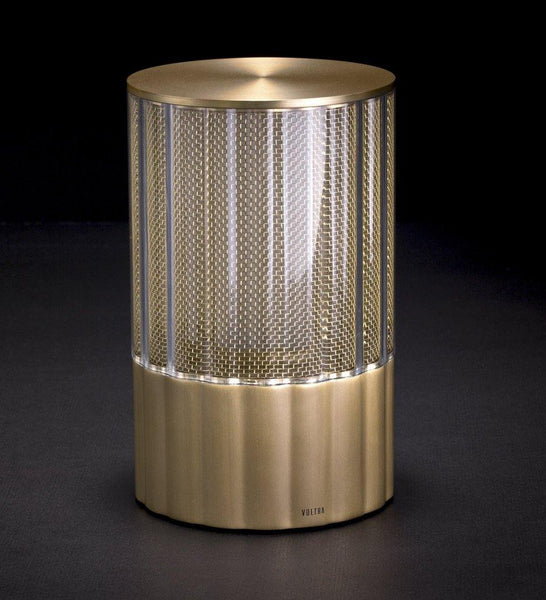 Voltra Lighting | Reeded | Natural Brass | 100mm Rechargeable Lighting | Lighting On
