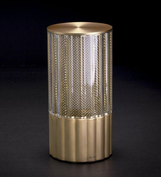 Voltra | Reeded | Natural Brass | 80mm Rechargeable Lighting | Lighting On