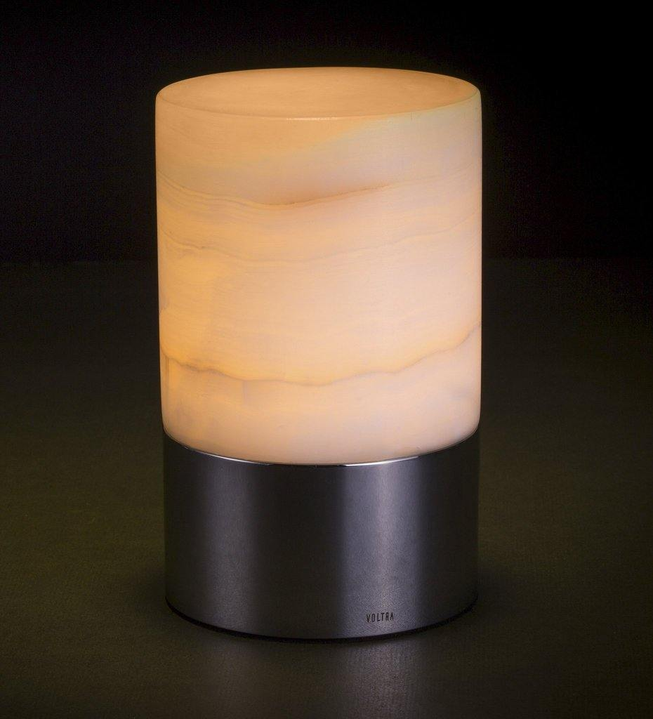 Voltra Lighting | Alabaster | Polished Chrome | 100mm Rechargeable Lighting | Lighting On