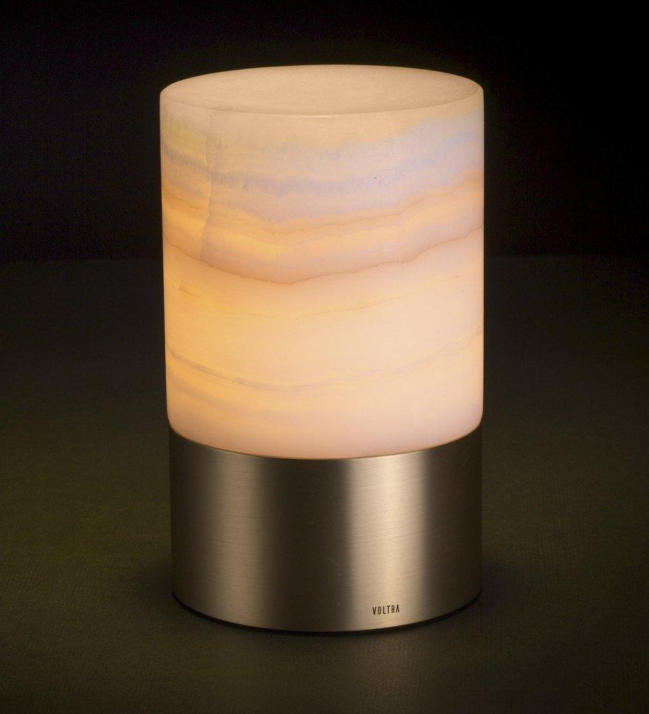 Voltra Lighting | Alabaster | Natural Brass | 100mm Rechargeable Lighting | Lighting On