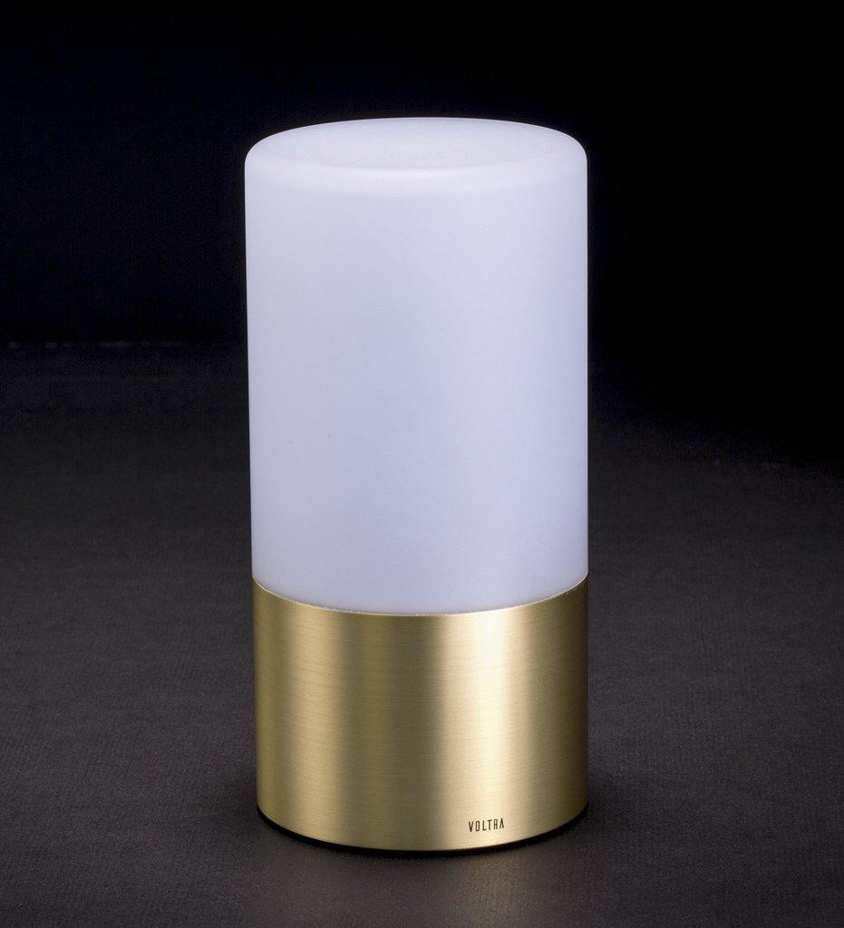 Voltra Lighting | Frosted | Natural Brass | 80mm Rechargeable Lighting | Lighting Off