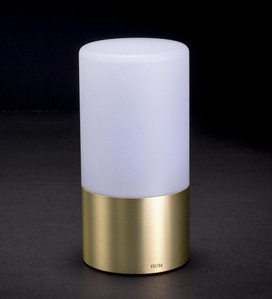 Voltra | Frosted | Natural Brass | 80mm Rechargeable Lighting | Lighting On