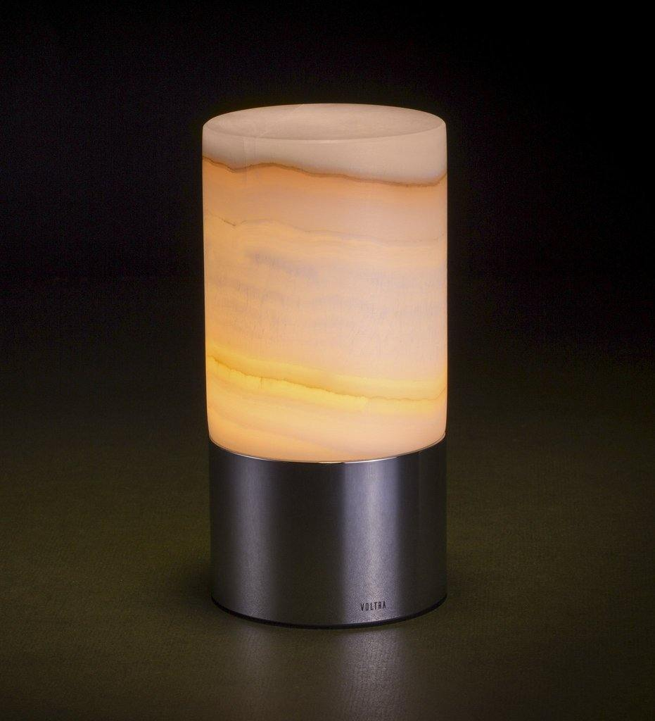 Voltra Lighting | Alabaster | Polished Chrome | 80mm Rechargeable Lighting | Lighting On