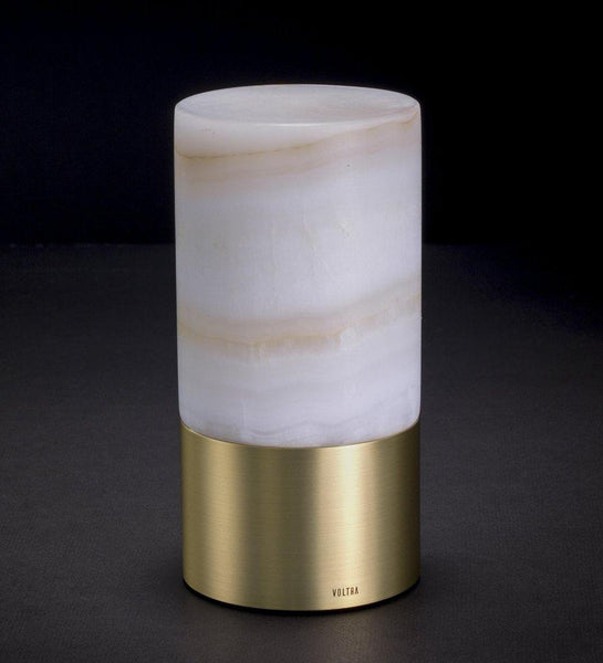 Voltra Lighting | Alabaster | Natural Brass | 80mm Rechargeable Lighting | Lighting On
