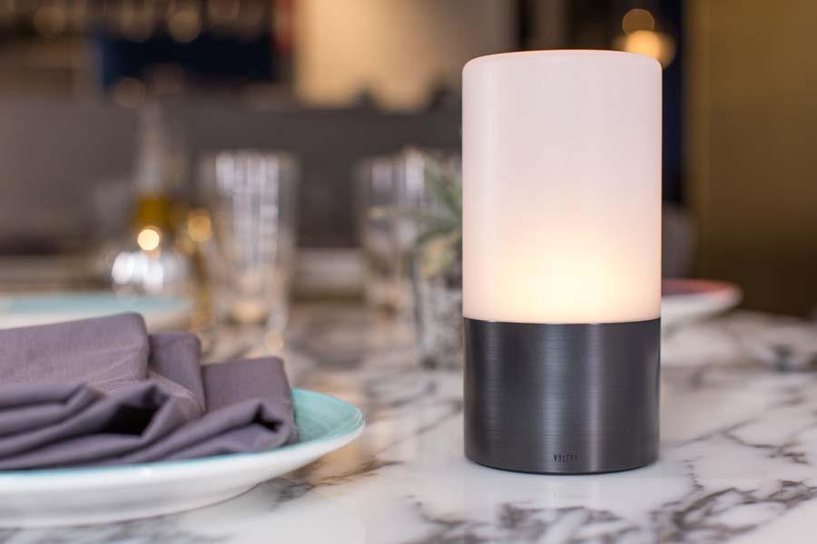 lifestyle, Voltra Lighting | Frosted Table Light | 80mm Rechargeable | Table Setting