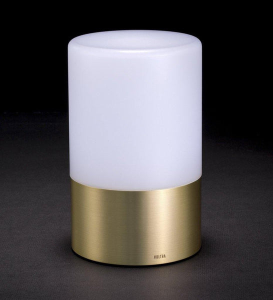 Voltra Lighting | Frosted | Natural Brass | 100mm Rechargeable Lighting | Lighting On