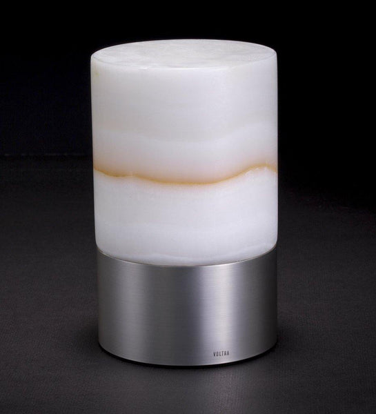 Voltra Lighting | Alabaster | Satin Nickel | 100mm Rechargeable Lighting | Lighting On