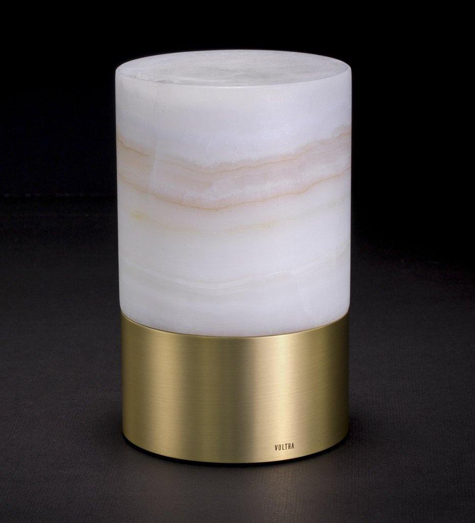 Voltra Lighting | Alabaster | Natural Brass | 100mm Rechargeable Lighting | Lighting Off