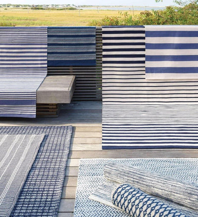 lifestyle, Dash and Albert Port Stripe Denim Indoor/Outdoor Rug
