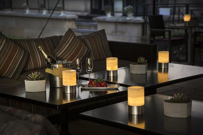 lifestyle, Voltra Lighting | Alabaster Table Light | 100mm Rechargeable | Table Setting