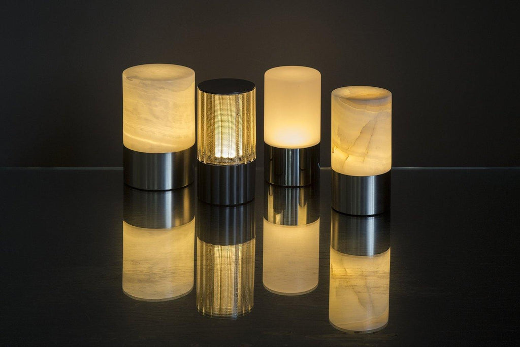 lifestyle, Voltra Lighting Reeded Table Light 80 Rechargable