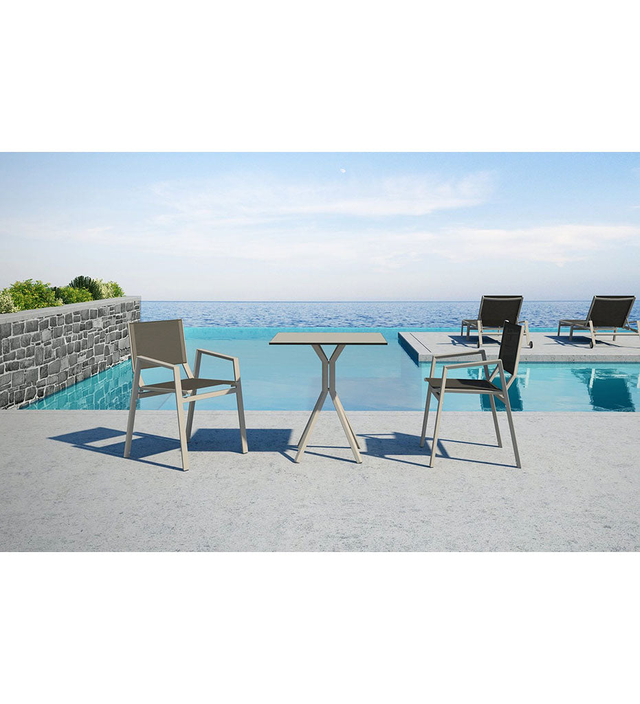 10DEKA Ora Outdoor 4 Leg Dining Cafe Table - Square Small Aluminum