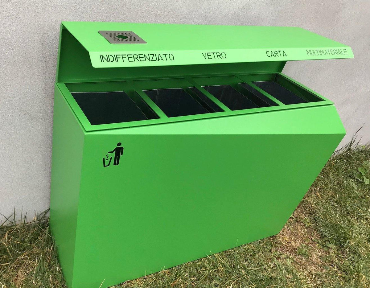CitySi Origami Recycling Bin - Cover AISI 304 Stainless Steel Urban Street Furniture