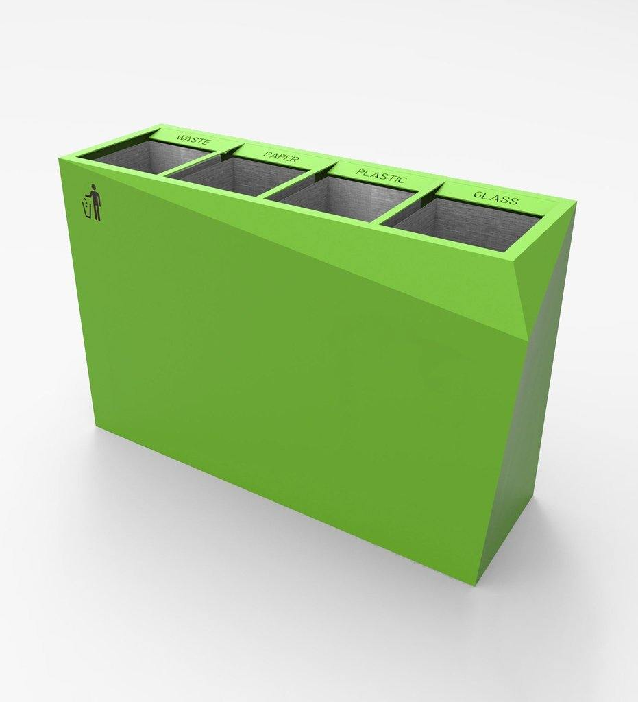 CitySi Origami Recycling Bin - Galvanized Steel Urban Street Furniture