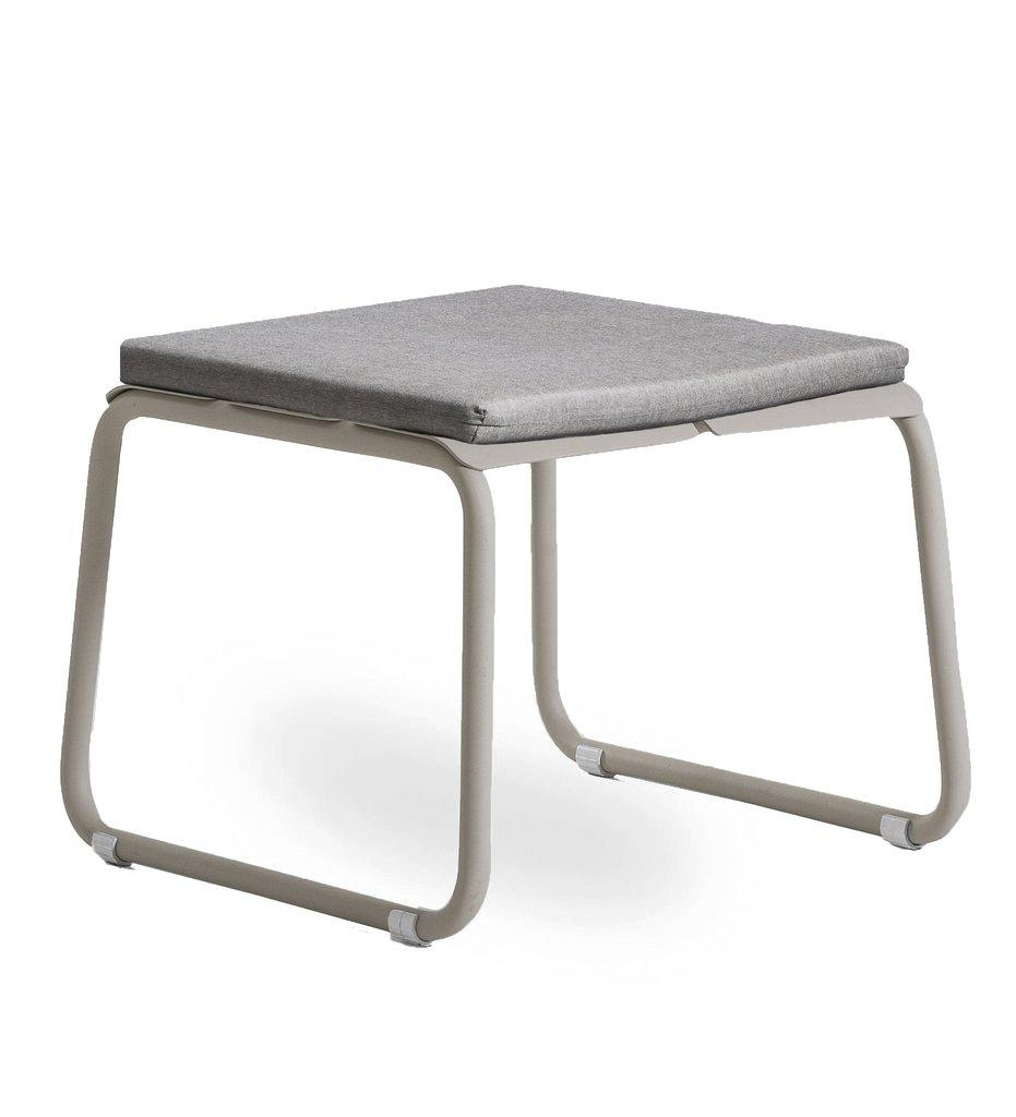 Oasiq | Corail Footstool / Coffee Table | Grey Aluminum with Flagship Vapor Cushion | Outdoor
