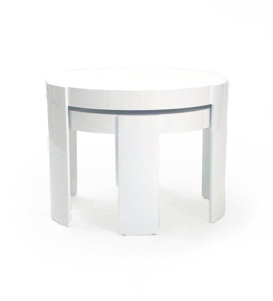 Oasiq, Delancey Madison Side Table - Small  - White Powder Coated Aluminum, Outdoor - Stacked