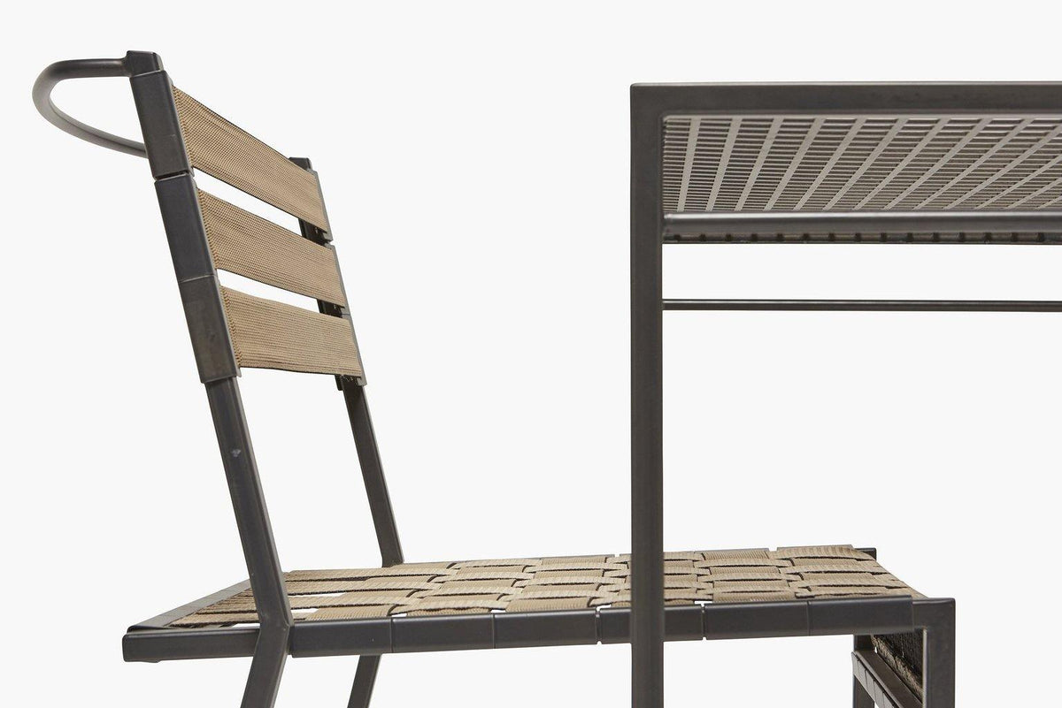 Stephen Kenn Outdoor Metal and Webbing Dining Chair