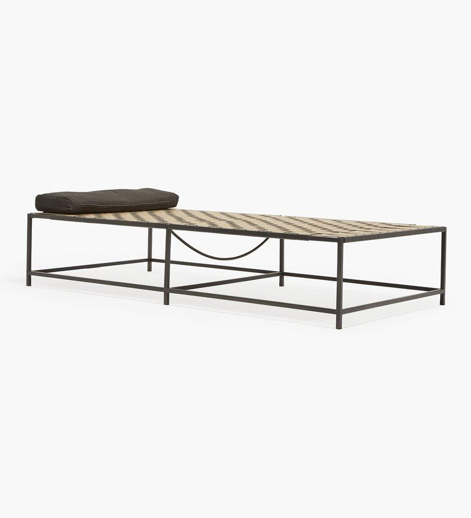 Stephen Kenn Outdoor Aluminum Metal and Webbing Shade Lounge
