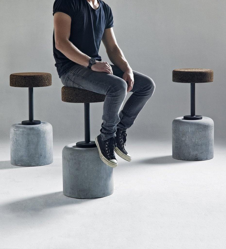 lifestyle, Wiid Cork Steel & Cement Bar Stool