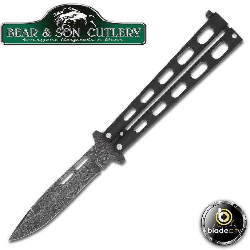 Bear & Son Drop Point Damascus Butterfly Knife-Blade City
