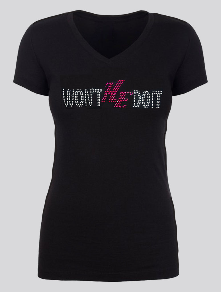 WON'T HE DO IT - Silver and Ruby Rhinestones
