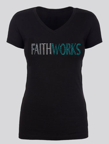 FAITHWORKS - Silver and Turquoise Rhinestones