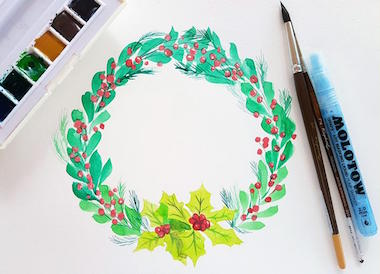 Holiday Wreath Painting