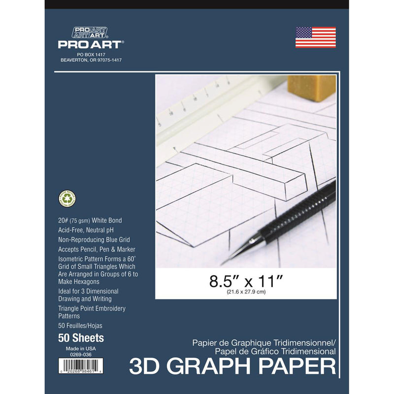 "Pro Art 3D Graph Paper 8 1⁄2 x 11"" 20lb Acid Free 50pc"