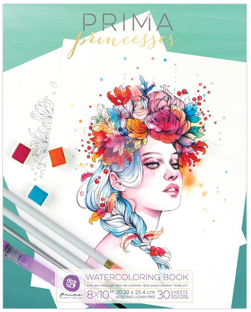 Prima Princesses watercolor paper Coloring Book 1 - Art Nebula
