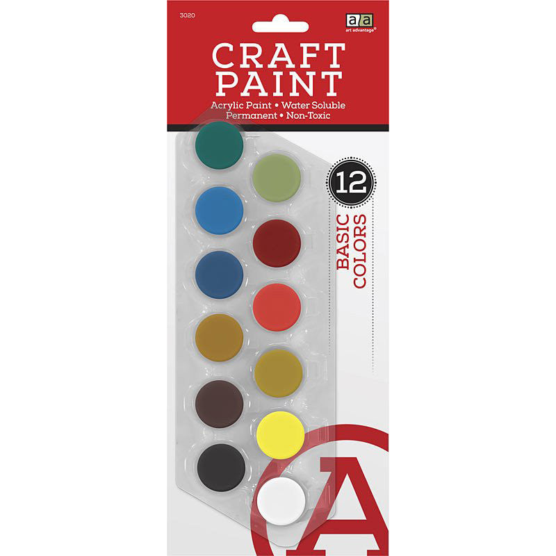 Art Advantage Basic Colors 5 ml Acrylic Paint Pots 12 Color Set - Art Nebula