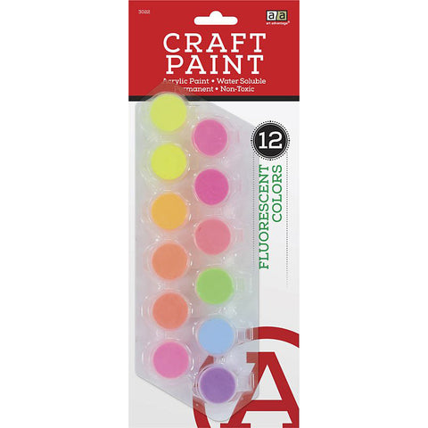 Art Advantage Fluorescent Colors 5 ml Acrylic Paint Pots 12 Color Set - Art Nebula