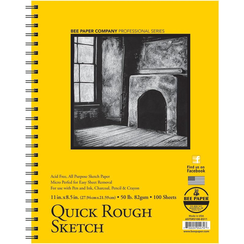 "Bee Paper AF Quick Rough Sketch 100 Sheet Double Wire Bound Pad - 8.5"" x 11"" 50 lb. (82 gsm) Sketchpads Art Nebula"