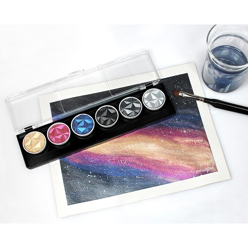 Coliro (by Finetec GmbH Germany) M500 - Galaxy 6 Color Set Watercolor Paint Art Nebula
