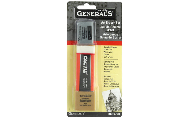 General Pencil Art Eraser Set Carded 3pc Eraser Art Nebula
