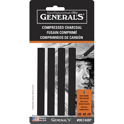 General Pencil Black Assorted Soft Compressed Charcoal Stick Set Charcoal & Graphite Art Nebula