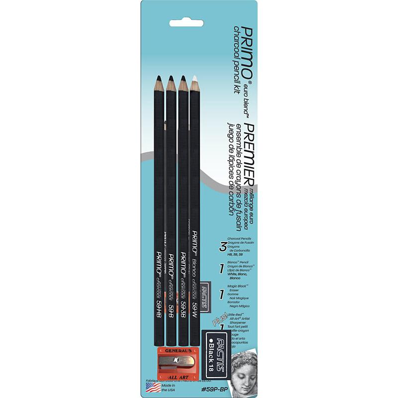 General Pencil Primo Euro Blend Charcoal Pencil Kit Set Charcoal & Graphite Art Nebula