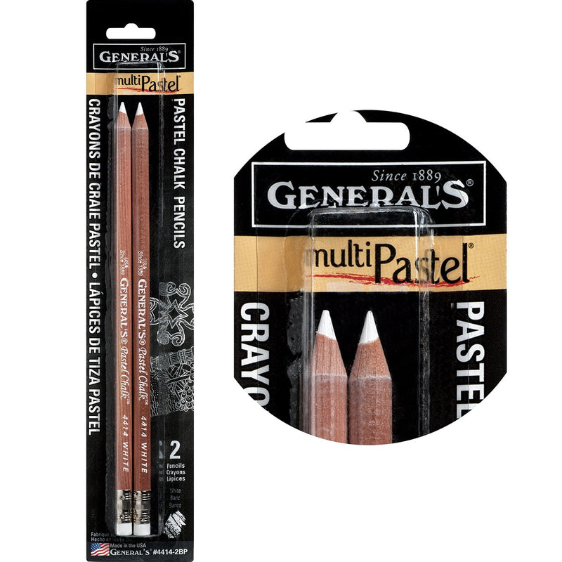 General's Multi Pastel Chalk Pencil - 2 pcs White set Pastels & Chalks Art Nebula
