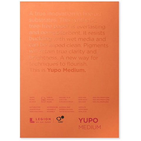 Legion Paper Yupo Medium 10 Sheet Pad - 74 lb. (200 gsm)