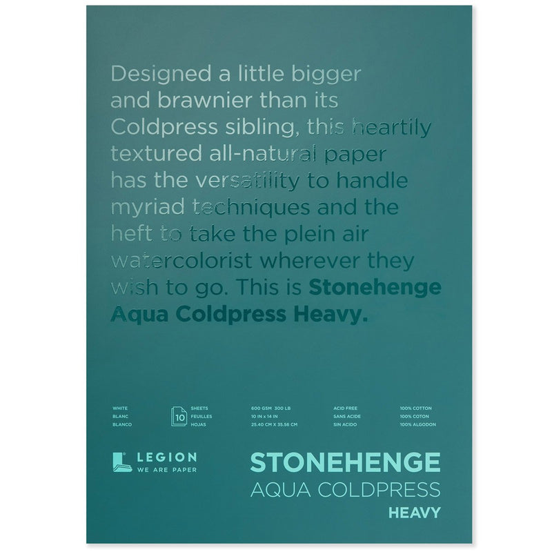 Legion Paper 300 lb. (600 gsm) Stonehenge Heavy Aqua Coldpress 10 Sheet Block Watercolor Pads & Blocks Art Nebula