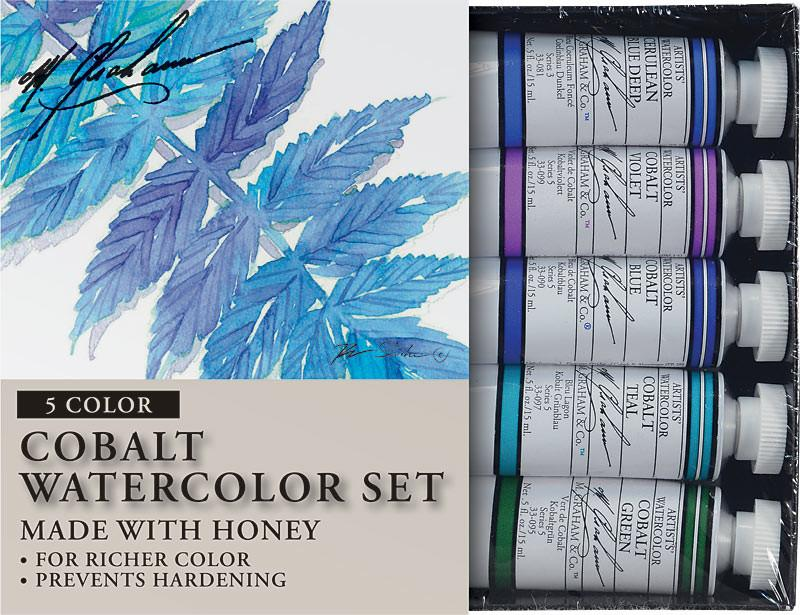 M. Graham & Co. Cobalt Mix Artists' Watercolor Set - 5 Tubes, 15ml each Watercolor Paint Art Nebula
