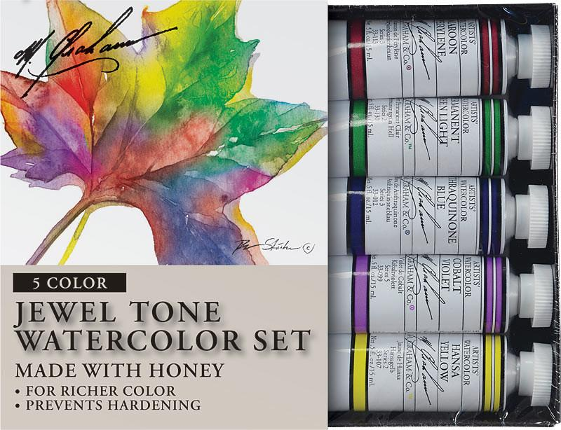 M. Graham & Co. Jewel Tone 0.5 oz (15 ml) Artists' Watercolor 5 Color Set Watercolor Paint Art Nebula