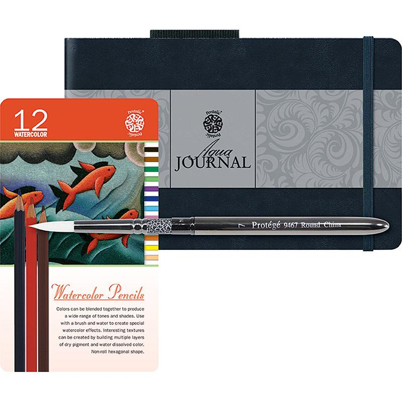 Pentalic Aqua Journal Watercolor Pencil Set & Brush Value Pack Sketchbooks & Journals Art Nebula