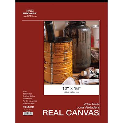 "Pro Art 12"" x 16"" Real Canvas 10 Sheet Pad Canvas Surfaces Art Nebula"