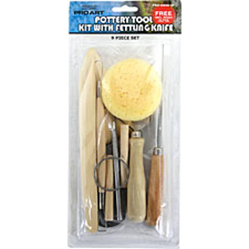 Pro Art Natural Wood Handle Pottery Tool Kit with Fettling Knife 9 Piece Set Sculpting Art Nebula