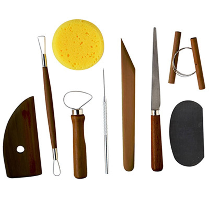 Pro Art Stained Wood Handle Pottery Tool Kit with Fettling Knife 9 Piece Set Sculpting Art Nebula